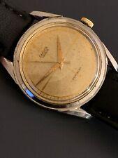 Vintage Mens Gruen Automatic Rare Dial Steel Case Watch