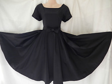 Vintage Dress 40s 50s Rockabilly Gothic Swing Satin Black Full Circle 10 38 US 6