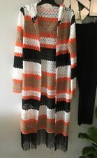 RETRO Orange Black Taupe White Stripe Knit Hood Fringe Hem Jacket Coat Cardigan