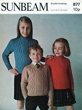"""~ Vintage 1970's Knitting Pattern For Child's Aran-Style Sweaters ~ 24"""" ~ 30"""" ~"""