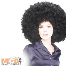 Grande BIG Afro Parrucca Nera 60s-70s Fancy Dress Costume adulto uomo donna discoteca parrucca