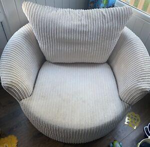 Large Cream Jumbo Cord Swivel Love Seat Arm Chair