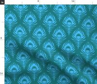 Bird Vintage Animals Deco Peacock Feather 20S Spoonflower Fabric by the Yard