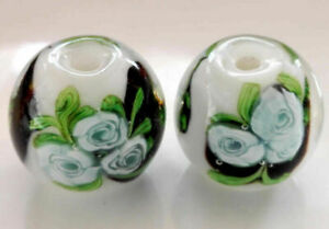 10pcs handmade Lampwork glass Beads flower round white rose 14mm