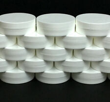 250 White Plastic Cosmetic Containers Low Profile Wide Mouth Jars Lids 1oz #9352