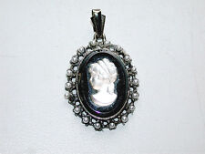 Beautiful Vintage Black & White Mourning Cameo & Pearls Pendant