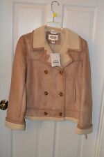 Talbots Tan Suede Button Leather Coat Pockets, Lush Fur Lining Size M Medium NWT