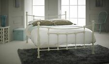 CHESTER Double 4ft6 Metal Bed TEXTURED CREAM with Sprung Wooden Slats