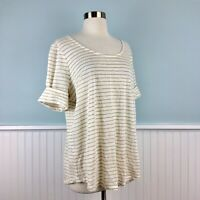 Size 1X Ralph Lauren Ivory Beige Knit Linen Shirt Top Blouse Womens Plus NWT New