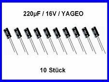Elko - Kondens. YAGEO 220µF (220uF) / 16V / ca. 6 x 12mm / 10 Stück Neu
