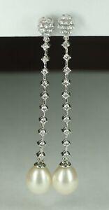 "Ladies 14K White Gold 0.7 CT Diamond Pearl Dangle Drop Earrings 2.25"""