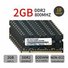 20GB Kit 10x 2GB 1G DDR2 800MHz PC2-6400S CL6 SODIMM RAM Black Laptop Memory LOT