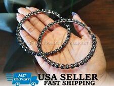3 Inch Black Crystal Hoop Large Earrings Swarovski Stone Glass Wives Hip Hop