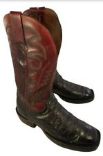 LUCCHESE COWBOY WESTERN MAN BOOTS BURGUNDY RED  BLACK  OSTRICH SIZE 7 D