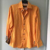 BERTIGO Mens Size Small Casual Shirt Design Yellow Trim Long Sleeve Brocade
