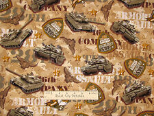 Timeless Treasures Military Army Tank Armored Assault Camouflage Fabric - 14""