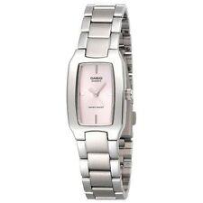Casio Womens Silvertone Bracelet Metal Watch, Pink Dial, LTP1165A-4C