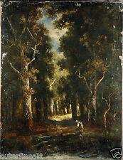19th Century Oil Painting Dark Forest Scene in the style of N V Diaz de la Pena