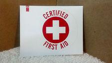 """Hard Hat Sticker, Certified First Aid, 2"""" Round, Red & White"""