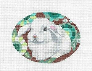 White Bunny Rabbit in Flowers & STITCH GUIDE Needlepoint Ornament Melissa Prince