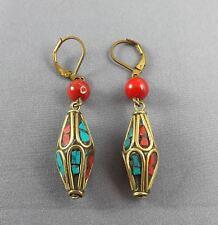 "1.2"" dangling earrings, Nepal earrings, Tibetan Turquoise,red Coral handmade EAR"