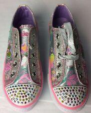 Skechers Twinkle Toes Girls 10157L Sneakers Shoes Pink Purple Gem Stones