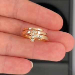 Tiffany & Co 18k Rose Gold Square Wrap Diamond Ring $2700