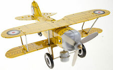 TIN TOY YELLOW CURTISS BI-PLANE WIND UP PLANE ROLLS & PROP GREAT COLLECTIBLE