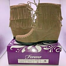 Forever Women's Size 6 Taupe Suede Lace Fringe Ankle Boots Round Toe Booties
