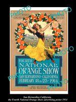 OLD LARGE HISTORIC PHOTO OF SAN BERNARDINO CALIFORNIA ORANGE SHOW POSTER 1914