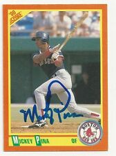 Autographed/Signed 1990 Score Traded #104T/Mickey Pina/Boston Red Sox/Tough Sig