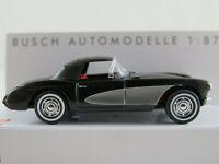 Busch 45425 Chevrolet Corvette Cabrio (1956) in schwarz/silber 1:87/H0 NEU/OVP