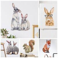 Bunny Wall Stickers Squirrel Fox Koalas Bird Cute Animals Decals Rabbits Mural