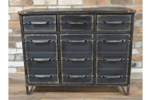 Industrial Style Metal 3 Drawer 3 Cupboard Storage Cabinet