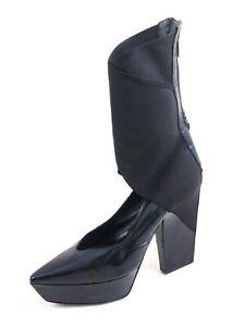 Jil Sander Platform Pumps Black Patent Leather Fabric Women Sz US 7.5 EU 38 $820
