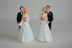 Bride & Groom Cake Topper, Wedding, Hand Painted Resin, Approx 10cm x 5cm