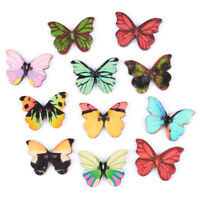 50pcs 2 Holes Mixed Color Butterfly Wooden Buttons Sewing Scrapbooking DIY UQ