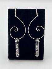Herkimer Diamond Clarity Earrings Fibonacci Design w/ Faceted Amethyst accents
