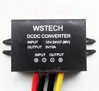 10A 50W DC-DC STEP DOWN BUCK CONVERTER 12V 24V TO 5V CAR POWER ADAPTER W/PROOF