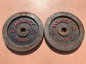 "2 Vintage Marcy Barbell Plate Dumbbell Weights 10lbs lb 1"" ,Red Lettering"