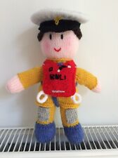 "Lifeboatmam. Hand knitted Lifeboatman, toy/ doll. 10"" high. NEW."