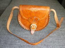 Bolsa de piel bandolera bolso de mano cuero genuino robusto marco marrón claro costura Top