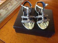 Chanel Shiny Python Thongs Sandals Sz 35