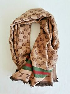 Gucci Unisex Men Women Shawl Gold Brown Beige Scarf Red Green Stripes & Logos