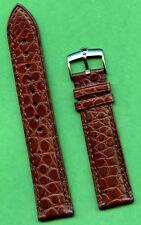 GENUINE ROLEX STEEL BUCKLE & GENUINE ALLIGATOR BROWN BAND 19mm EXTRA LONG