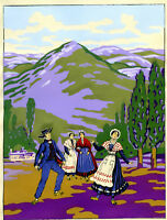 1930s French Pochoir Print Art Deco Sicilian Peasants Dancing Italian Landscape