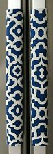 Refrigerator Oven Door Padded Handle Covers Lattice Blue Set of Two