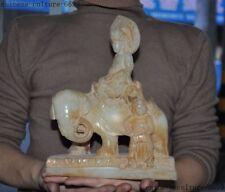 "9""  White jade jadeite carving Elephant Samantabhadra Guanyin Bodhisattva Statue"