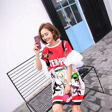 Oversize Harajuku Kawaii Cartoon Print T-shirt Loose Flare Sleeve Dress Fashion