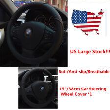 15''/38cm Car Steering Wheel Cover Microfiber Leather Breathable Anti-slip Black